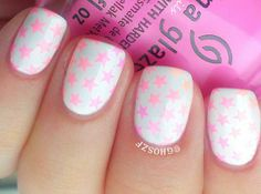 pink neon stamped stars on white nails