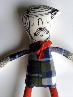 My Little Hipster- Boyfriend- Handmade Art Doll- Painted Plush- Mustache. $60.00, via Etsy.