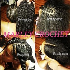 Natural looking protective style: crochet braids w/marley braiding hair... & has leave-out in the front
