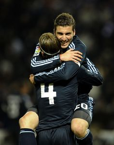 Sergio Ramos and Gonzalo Higuain ; Real Madrid