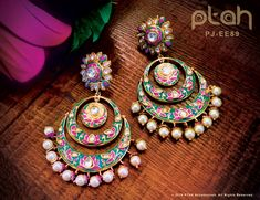 Items similar to Ptah Meenakari Chandbalis - on Etsy Indian Jewelry Sets, Silver Jewellery Indian, Indian Wedding Jewelry, Indian Earrings, Diamond Jewellery, Indian Bridal, Fancy Earrings, Jewelry Design Earrings, Stylish Jewelry