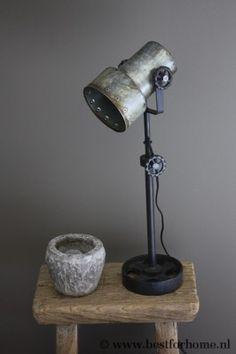 Puur Sobere Metalen Tafellamp Stoere Lamp Industrieel NO.865 | BFH6321