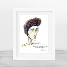 Mind of her own - Original poem and watercolour and ink illustration, Art print