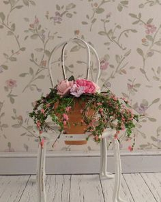 Dollhouse Miniature Shabby Chic Metal Chair with Flowers Fairy Garden #miniholiday
