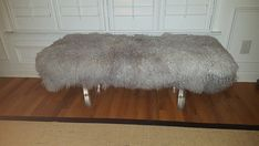 Mongolian Lamb Bench with Lucite Acrylic Legs by AvAFluffAndStuff