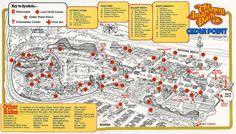 Sandusky, OH © Cedar Fair Image source: Theme Park Brochures Cedar Point Ohio, Marblehead Ohio, Theme Park Map, Sandusky Ohio, Amusement Park Rides, Information Center, Losing A Child, Beach Town, Maps