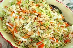 Oriental Salad with Ramen Noodles Oriental Salad 1 bag of cole slaw 1 bag of broccoli cole slaw (shown below) 1 pkg. Oriental ramen noodles 1 small bag of slivered almonds cashews or peanuts (optional) Dressing 1/2 cup canola oil 1/2 cup sugar 1/4 cup cider vinegar 2 TBS. soy sauce Season packet from the Ramen noodles