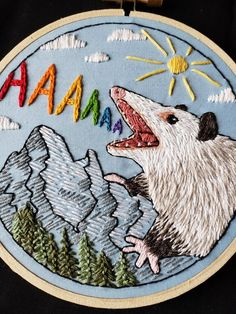 Lil' possum boy for my first ever commission! : Embroidery- Lil' possum boy for my first ever commission! Embroidery Art, Cross Stitch Embroidery, Embroidery Patterns, Cross Stitch Patterns, Sewing Patterns, Funny Embroidery, Art Graphique, Graphic, Cross Stitching