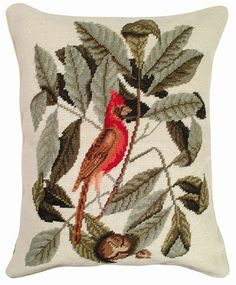 Luxury aubusson pillows, needlepoint pillows, decorative throw pillows and printed linen pillows in endless styles at ThrowMeAPillow est. Linen Pillows, Sofa Pillows, Decorative Throw Pillows, Bird Pillow, Needlepoint Pillows, Printed Linen, Pretty Birds, Filet Crochet, Cushion Covers