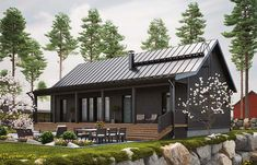 LATO 121 G - Kannustalo Style At Home, Prefab Cottages, Modern Wooden House, Small Barns, Dark House, Tiny House Cabin, Shed Homes, Farms Living, Small House Design