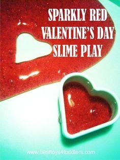 Sparkly red Valentine's day slime play - #31DaySensoryPlayChallenge
