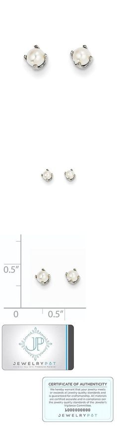 Pearl 10990: 14K White Gold 3Mm Freshwater Cultured Pearl Stud Earrings -> BUY IT NOW ONLY: $42.99 on eBay!