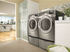 Samsung Washer and Dryer. Specialty Appliances, Cooking Appliances, Small Kitchen Appliances, Cool Kitchens, Home Appliances, Gel Refrigerator, Home Depot, Samsung Washer, New Washer And Dryer