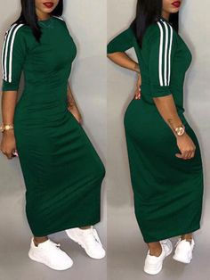 Casual Half Sleeve Stripe Midi Dress Plus Size Feel effortlessly modern and stylish in this,if you want to see our complete catalog of dresses, please browse our menu. SEE DETAILS. Midi Dress Plus Size, Plus Size Dresses, Cute Dresses, Casual Dresses, Maxi Dress With Sleeves, Half Sleeves, Striped Midi Dress, Fashion Outfits, Style Fashion