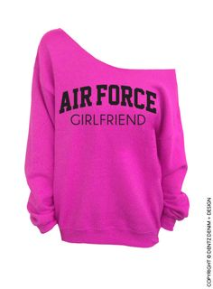 "Coupon code ""PINTEREST"" Air Force Girlfriend - Pink Slouchy Oversized Sweatshirt by DentzDesign #dentzdesign"