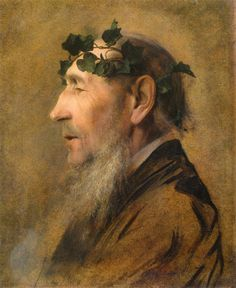 Gustav Klimt: (Alter Mann mit Efeukranz) Old Man with ivy wreath, 1883 Life Drawing, Painting & Drawing, Franz Josef I, Klimt Art, Woman In Gold, Ecole Art, Rene Magritte, Portraits, Portrait Paintings