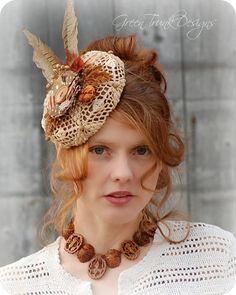 Pheasant Feather Fascinator Hat by GreenTrunkDesigns  #hat #fascinator #rustic # wedding #mori