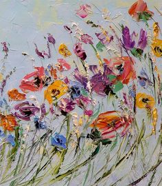 Oil Painting Flowers Palette Knife Painting on by ForestSandandAir #OilPaintingFlowers