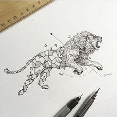 Geometric Lion By @kerbyrosanes _ @arts.gallery by arts__gallery
