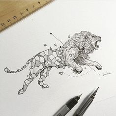 Geometric Lion By @kerbyrosanes _ @arts.gallery by arts__gallery