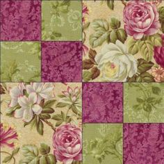RJR Arabella Rose Floral Raspberry Mauve Green Fabric Pre-cut Quilt Block Kit in Crafts, Sewing & Fabric, Quilting Quilt Square Patterns, Patchwork Quilt Patterns, Pattern Blocks, Square Quilt, Purple Quilts, Green Quilt, Green Fabric, 4 Patch Quilt, Quilt Blocks