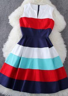 Fashion Stripe Sleeveless Dress