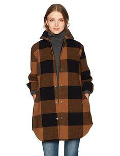 BB Dakota Women's Eldridge Buffalo Plaid Coat, Cognac, Large