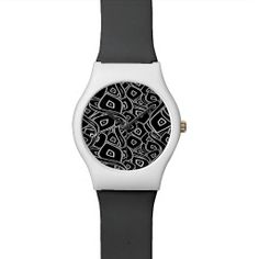 Abstract black and white leaves pattern watches
