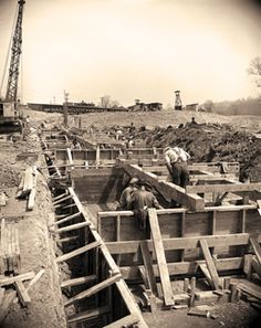 Construction of the Floodwall Huntington, West Virginia  <3 my hometown <3