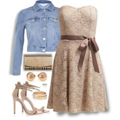 Lace & Denim by nansg on Polyvore featuring polyvore fashion style Morgan Miss Selfridge Burberry MARC BY MARC JACOBS Madewell denim dress lace nude outfitonly