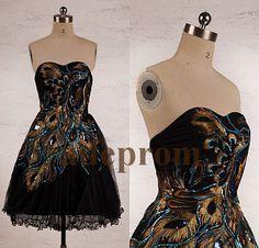 Black Peacock Short Prom Dresses Bridesmaid Dresses by adeprom, $89.00