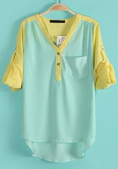 Green Patchwork Irregular Pocket Chiffon Blouse