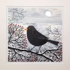 Winter Gatherer - 12 x 12 inch mounted limited edition giclee print of a blackbird by JoGrundyArtist on Etsy