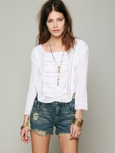 Candela Embroidered Crop Top at Free People