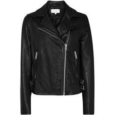 Reiss Leather Caden Biker Jacket, Black (1,960 SAR) ❤ liked on Polyvore featuring outerwear, jackets, black, motorcycle jacket, long sleeve jacket, short leather jacket, leather biker jackets and leather moto jacket