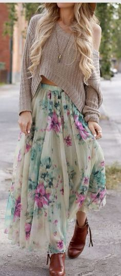 floral Skirt, sweater and boots