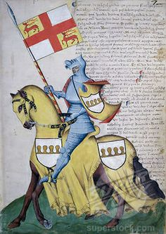 Stock Photo #263-436, Capodilista Codex: Knight & Yellow Horse Illuminated manuscript Biblioteca Civica, Padua, Italy