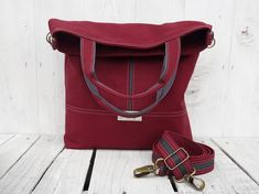Canvas tote bag Burgundy crossbody foldover messenger by SKmodell