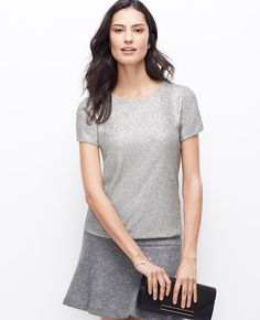 Dazzling sequins light up this pretty tee with sparkling personality l Ann Taylor