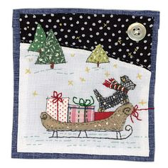 Christmas applique Woman Jeans woman within fineline jeans Freehand Machine Embroidery, Free Motion Embroidery, Free Machine Embroidery, Christmas Applique, Christmas Embroidery, Christmas Art, Xmas, Fabric Postcards, Fabric Cards