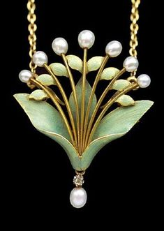 Art Nouveau Lily-of-the-Valley Pendant/Brooch von Andre Rambour, um 1900