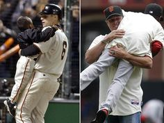 Then and now: J.T. Snow and Darren Baker. (AP Photos)