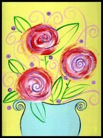 paint party canvas - whimsy flowers