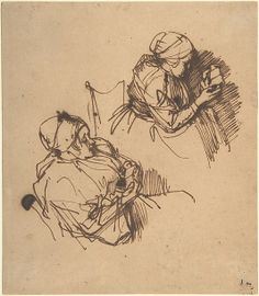 I love these quick sketches of women working by Rembrandt van Rijn Of course, he was an amazing painter and a master at making areas of his paintings glow. These quick observational sketches show Rembrandt's spontaneity. Gesture Drawing, Life Drawing, Figure Drawing, Drawing Sketches, Art Drawings, Rembrandt Etchings, Rembrandt Drawings, Drawing Studies, Dutch Painters