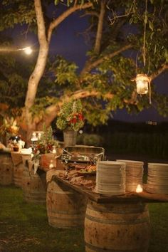 Rustic wine barrels with soft lighting for your entire buffet.your perfect wine country wedding buffet Bbq Buffet, Outdoor Buffet, Buffet Set, Food Buffet, Buffet Ideas, Food Tables, Outdoor Tables, Outdoor Parties, Outdoor Dining