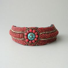 Tribal Choker Necklace Heavily Beaded with Turquoise by pinguim, $70.00