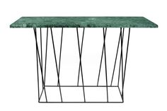 Modern Helix console table with a green marble top and a black base