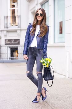 Navy Leather x Distressed Jeans