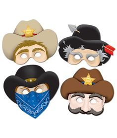 Props for the photo booth  Western Masks- 4ct