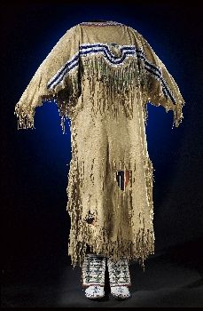 Woman's Dress, Leggings and Moccasins - Blackfoot - circa 1890